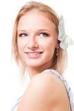 Blonde Frau mit Basisrecheneinheit in ihrem Haarlächeln Stockbilder