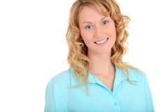 Blonde Frau mit blauem Hemd Lizenzfreies Stockbild