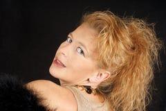 Blonde Frau mit blauen Augen Stockbilder