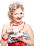 Blonde Frau mit Cup Stockbild