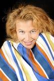 Blonde Frau mit Decke Lizenzfreies Stockfoto