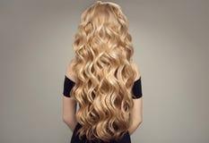 Blonde Frau mit dem langen schönen Haar Rückseitige Ansicht Stockfotos