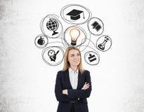 Blonde Frau mit den gekreuzten Armen und Bildungsskizzen auf einem concre Stockbilder