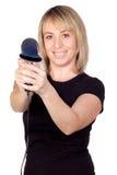 Blonde Frau mit einem Trockner Stockfotos