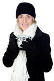 Blonde Frau mit einem weißen Schaltrinken Lizenzfreie Stockfotografie