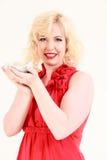 Blonde Frau mit einer Schüssel Reis Lizenzfreies Stockbild