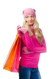 Blonde Frau mit Einkaufenbeuteln Lizenzfreie Stockfotografie