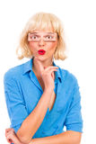 Blonde Frau mit gefälschten Augen. Stockfotos