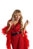 Blonde Frau mit Getränk- und Farbengift Stockbild