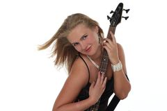 Blonde Frau mit Gitarre Stockfotos