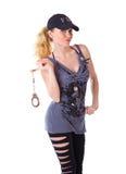 Blonde Frau mit Handschellen Lizenzfreie Stockfotografie