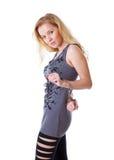 Blonde Frau mit Handschellen Lizenzfreies Stockbild