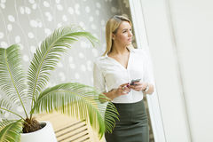 Blonde Frau mit Handy im Büro Stockbild