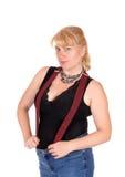 Blonde Frau mit Hosenträger Stockbilder
