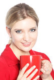 Blonde Frau mit Kaffee Stockfotografie