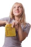 Blonde Frau mit kleinem Geschenksatz. #2 Lizenzfreies Stockbild