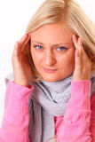 Blonde Frau mit Kopfschmerzen Lizenzfreie Stockfotografie