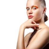 Blonde Frau mit kreativer Verfassung Lizenzfreies Stockbild