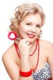 Blonde Frau mit Lutscher Lizenzfreies Stockfoto