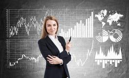 Blonde Frau mit Markierung nahe Diagrammen auf Tafel Stockfoto