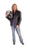 Blonde Frau mit Motorradsturzhelm Lizenzfreies Stockbild