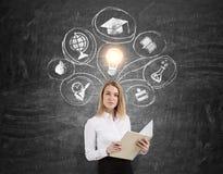 Blonde Frau mit Notizbuch und Bildungsskizzen auf einer Tafel Lizenzfreie Stockfotografie