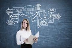 Blonde Frau mit Notizbuch und Geschäftsentwurf Stockbilder