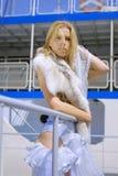 Blonde Frau mit polarem Fuchs auf einer Strichleiter Lizenzfreie Stockfotografie