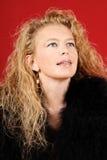 Blonde Frau mit Portrait der blauen Augen Stockfoto