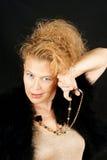Blonde Frau mit Portrait der blauen Augen Stockfotos