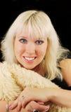 Blonde Frau mit Portrait der blauen Augen. Lizenzfreies Stockbild