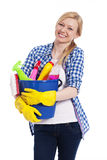 Blonde Frau mit Reinigungsmaterial Lizenzfreies Stockfoto