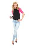 Blonde Frau mit Retro- Kamera Stockbilder