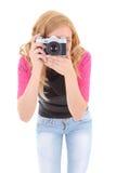 Blonde Frau mit Retro- Kamera Stockbild