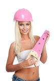 Blonde Frau mit rosafarbenem hartem Hut Lizenzfreie Stockbilder