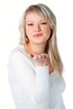 Blonde Frau mit Ruhezeichen Lizenzfreie Stockfotos