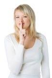 Blonde Frau mit Ruhezeichen Stockbild