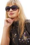 Blonde Frau mit Sonnenbrillen Lizenzfreie Stockfotos