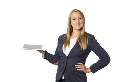 Blonde Frau mit Tablet-Computer Lizenzfreies Stockbild