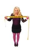 blonde Frau mit warnendem Band Lizenzfreies Stockbild