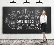 Blonde Frau nahe Geschäftsidee auf Tafel Lizenzfreies Stockbild
