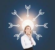 Blonde Frau nahe Ziel mit weißen Pfeilen Stockbilder