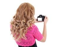 Blonde Frau shooting.copyspace Lizenzfreie Stockfotografie
