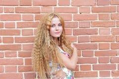 Blonde Frau und Backsteinmauer Stockbilder