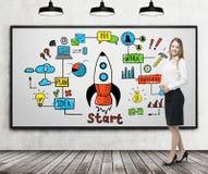 Blonde Frau und ein bunter Start auf whiteboard Stockbilder