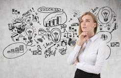 Blonde Frau und erfolgreiche Idee Lizenzfreies Stockbild