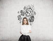Blonde Frau und glänzende Dollarzeichen Lizenzfreie Stockfotografie