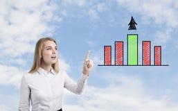 Blonde Frau und grünes Diagramm Lizenzfreies Stockfoto