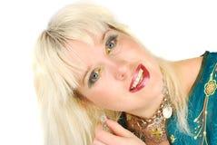 Blonde Frau und jewelery. Stockfotografie