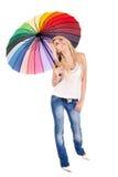 Blonde Frau und Regenschirm Stockfotografie